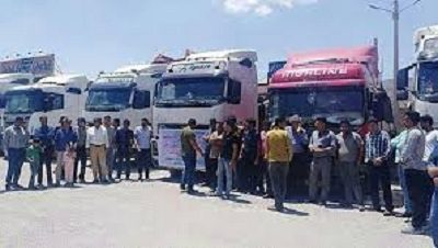 Truck drivers protesting in various cities in Iran